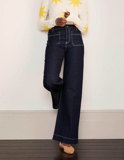 Patch Pocket Wide Leg Jeans - Indigo