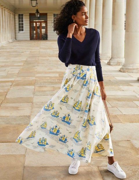 Livia Full Skirt - Ivory Nautical Voyage