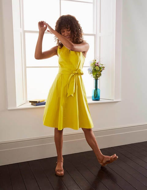 Mischa Belted Dress - Chartreuse