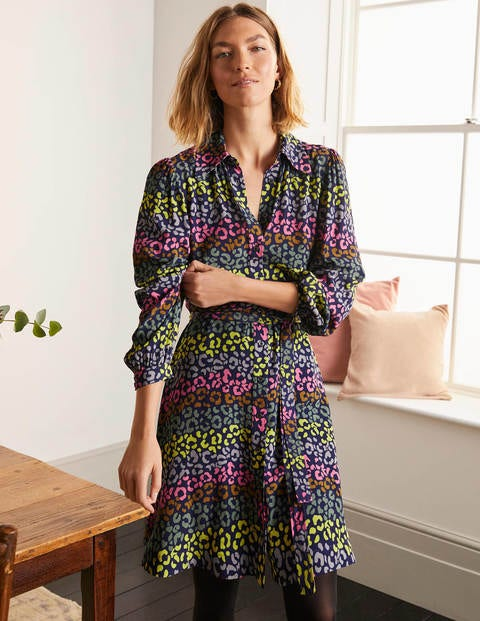 Charlotte Shirt Dress - French Navy, Rainbow Leopard