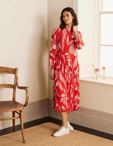 Josephine Midi Dress - Cherry Red, Parrot Pop