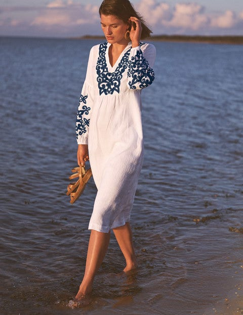 Leonie Embroidered Linen Dress