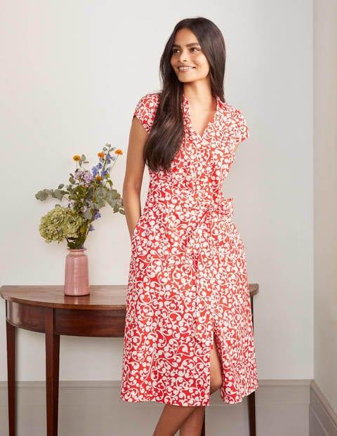 Rowena Shirt Dress - Cherry red, Vine swirl