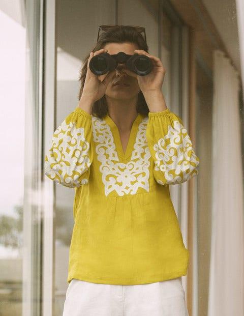 Leonie Linen Top - Chartreuse