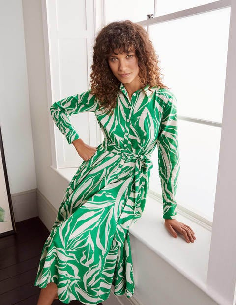 Kitty Midi Shirt Dress - Sapling, Painted Foliage