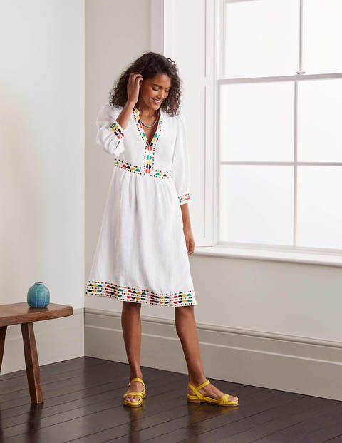 Dakota Embroidered Linen Dress