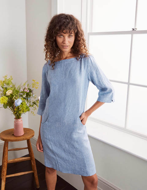 Laurie Linen Dress - Grey Blue Chambray