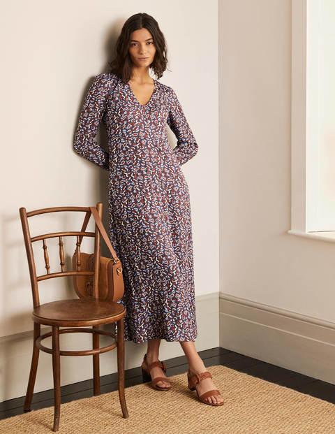 Tanya Midi Dress - Asphalt, Floral Paisley