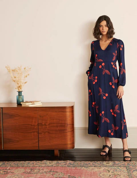 Tanya Midi Dress - French Navy, Cherry Bunch