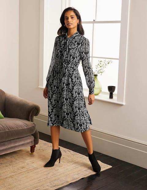 Sylvia Shirt Dress - Black, Parrot Paradise