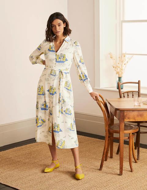 Rosanna Midi Shirt Dress - Ivory, Nautical Voyage