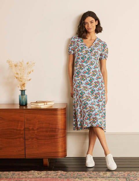 Tessa Midi Dress - Hazy Blue, Ditsy Field