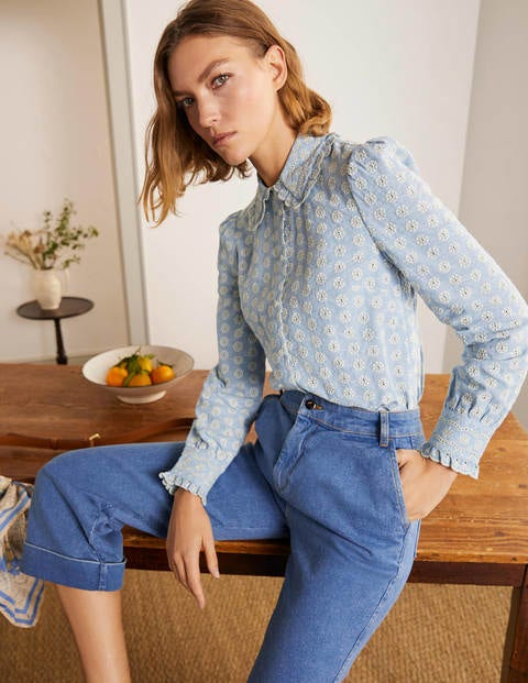 Frances Broderie Shirt - Chambray