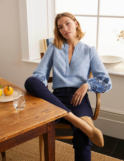 Eden Embroidered Top - Grey Blue Chambray