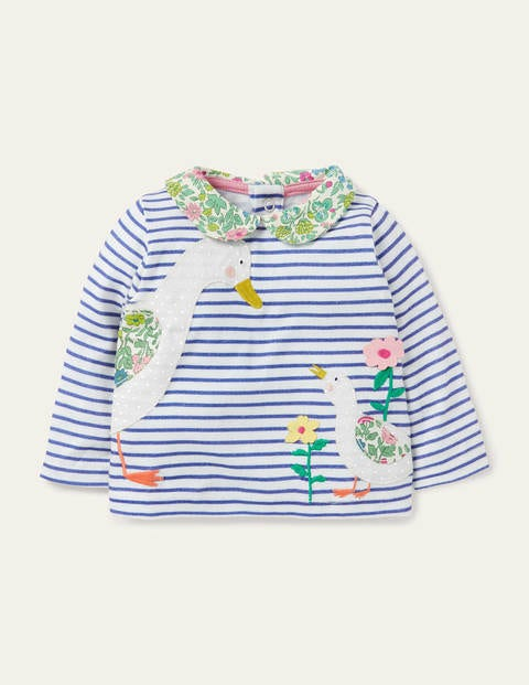 Big Appliqué Collared T-shirt - Ivory/Venice Blue Ducks