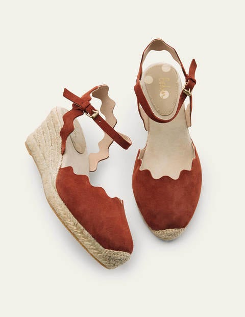 Nadine Espadrille Wedges - Copper Red
