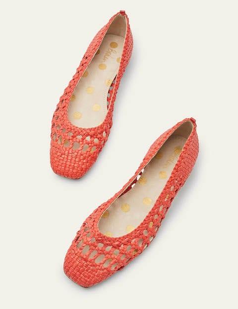 Olive Ballerinas - Rot, Gewebt