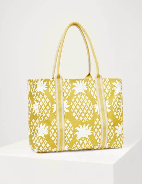 Olivia Large Canvas Tote - Chartreuse Pineapple Geo
