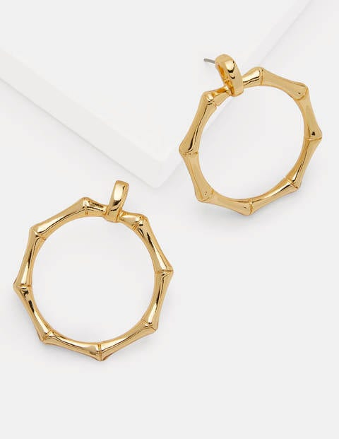 Bamboo Ring Earrings - Pale Gold