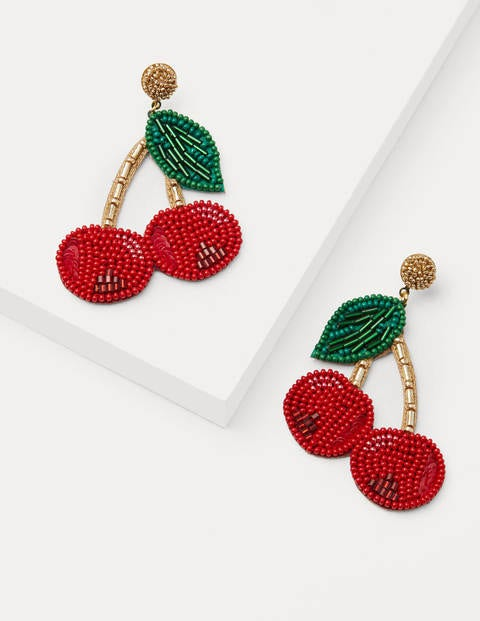 Embellished Earrings - Cherry Red