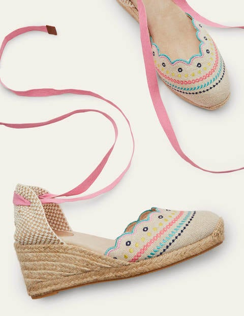 Winifred Espadrille Wedges - Natural Embroidered