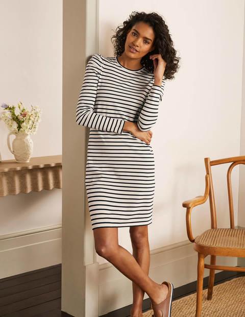 Imogen Breton Dress - Ivory/Navy