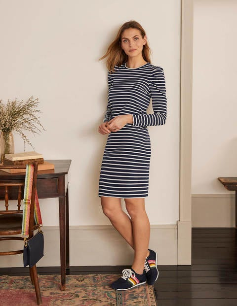 Imogen Breton Dress - Navy/Ivory