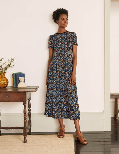 Lucinda Jersey Midi Dress - Black, Summer Chintz