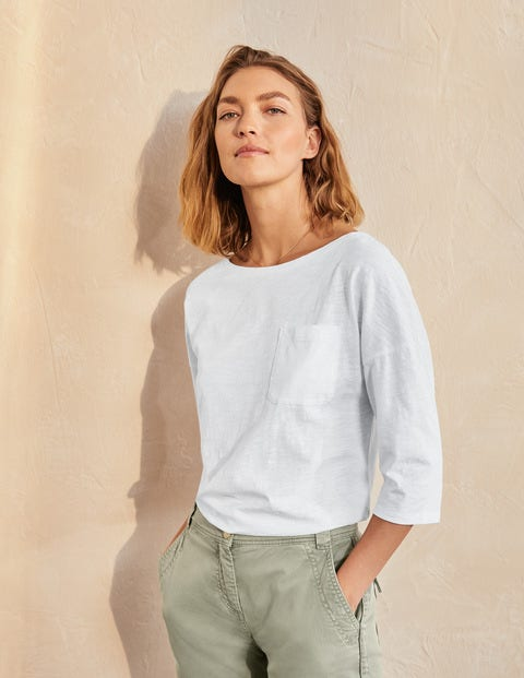 The Cotton Boxy Boatneck Tee - White