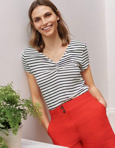 Supersoft Ruched V-neck Tee