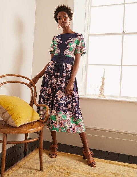 Rosemary Jersey Midi Dress - Navy, Enchanted Garden
