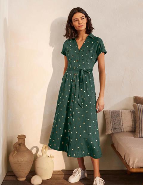 Thomasina Jersey Shirt Dress - Palm Leaf, Polka Dot Spaced