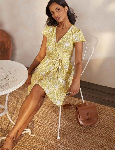 Evangeline Wickelkleid aus Jersey - Schwefelgelb, Tropischer Charme