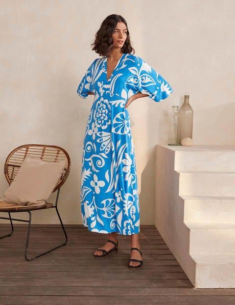 Poppy Jersey Maxi Dress - Moroccan Blue, Garden Tropic