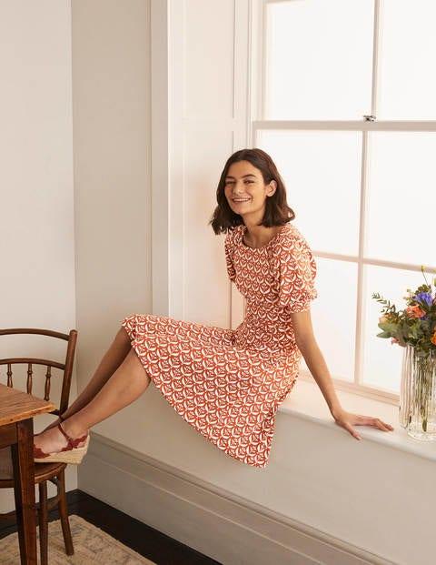 Roberta Jersey Dress - Copper Red, Flora Bud