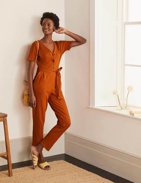Alberta Jersey Jumpsuit - Copper Red