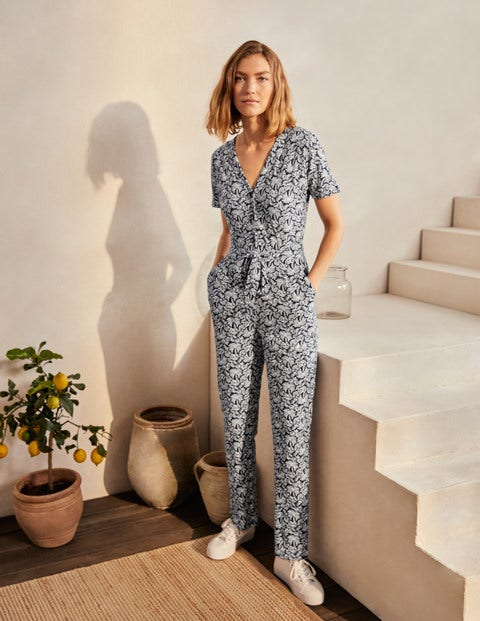 Alberta Jersey Jumpsuit - Navy, Exotic Palm