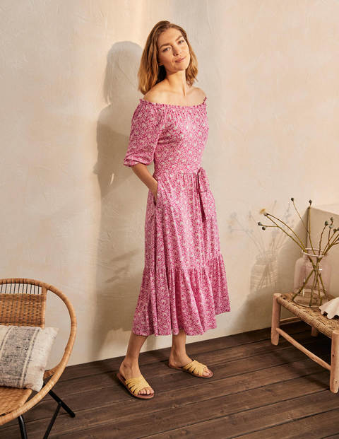 Romy Jersey Midi Dress - Party Pink, Exotic Palm
