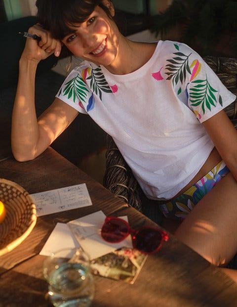 T-shirt Lena brodé en jersey - Blanc, broderie multi