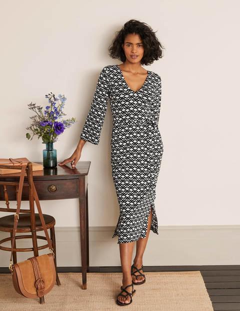 Amy Jersey Midi Dress - Black, Flora