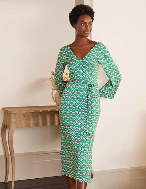Amy Jersey Midi Dress - Highland Green, Flora
