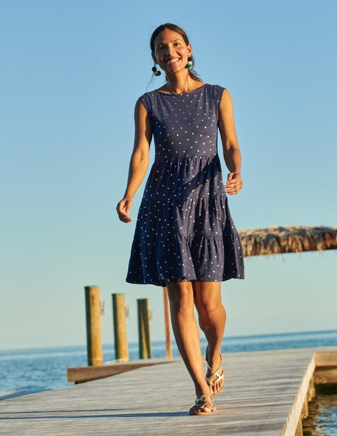 Romaine Tiered Jersey Dress - Navy and Gold, Polka Dot