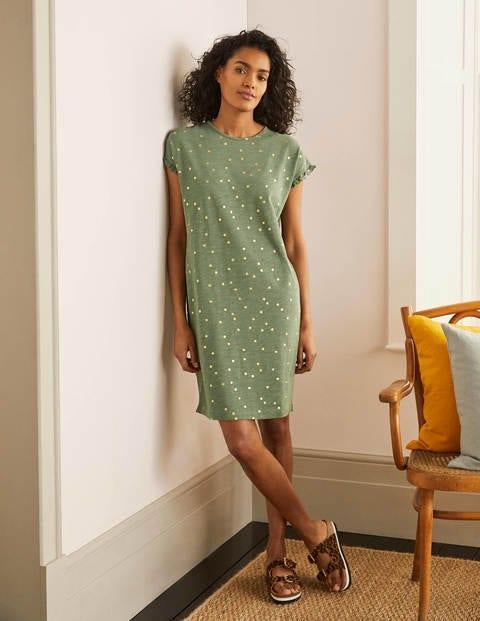 Faye T-Shirt-Kleid aus Jersey - Erlengrün, Goldfolientupfen