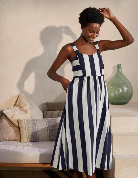 Lucy Jersey Stripe Dress - Navy and Ivory Stripe