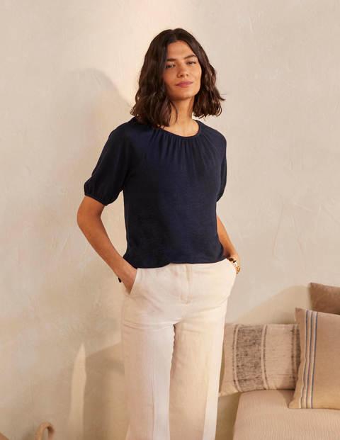 Tabitha Linen Jersey Top - Navy