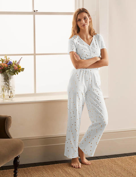 Waist Detail Pyjama Trousers - Ivory, Scattered Spot