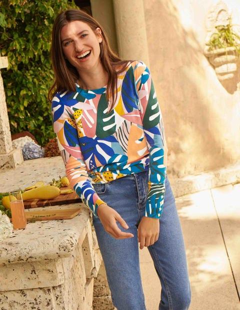 Pull Eldon en coton - Ivoire, motif Leafy Tropics