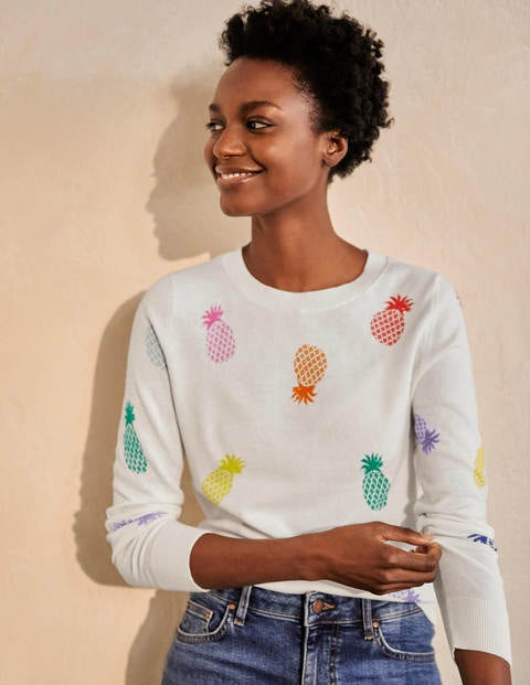 Banbury Cotton Jumper - Ivory Pineapples