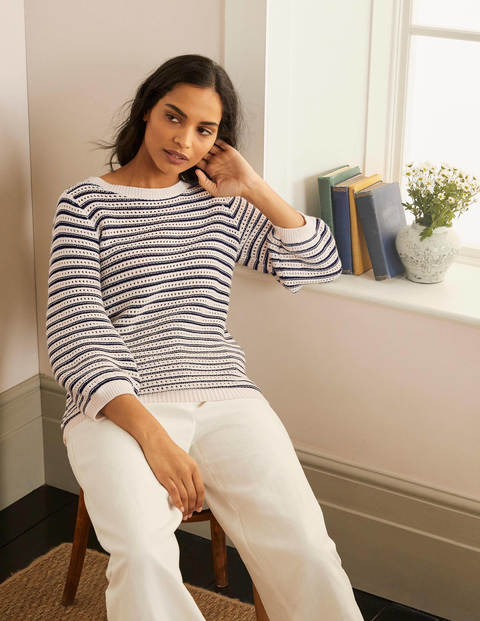 Leven Pointelle Sweater - Ivory/ Navy