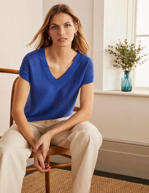 Anglesey Ribbed Linen Tee - Summit
